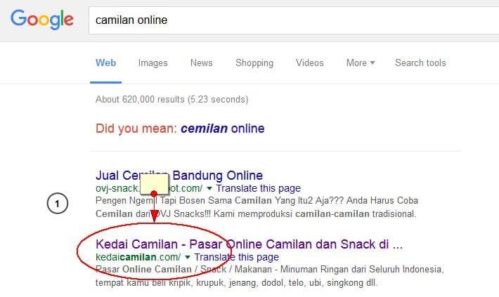 Jasa SEO untuk Kedai Camilan - Pasar Online Camilan Indonesia